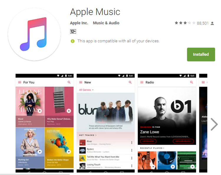 Apple Music для андроид вышла из стадии бета-тестирования